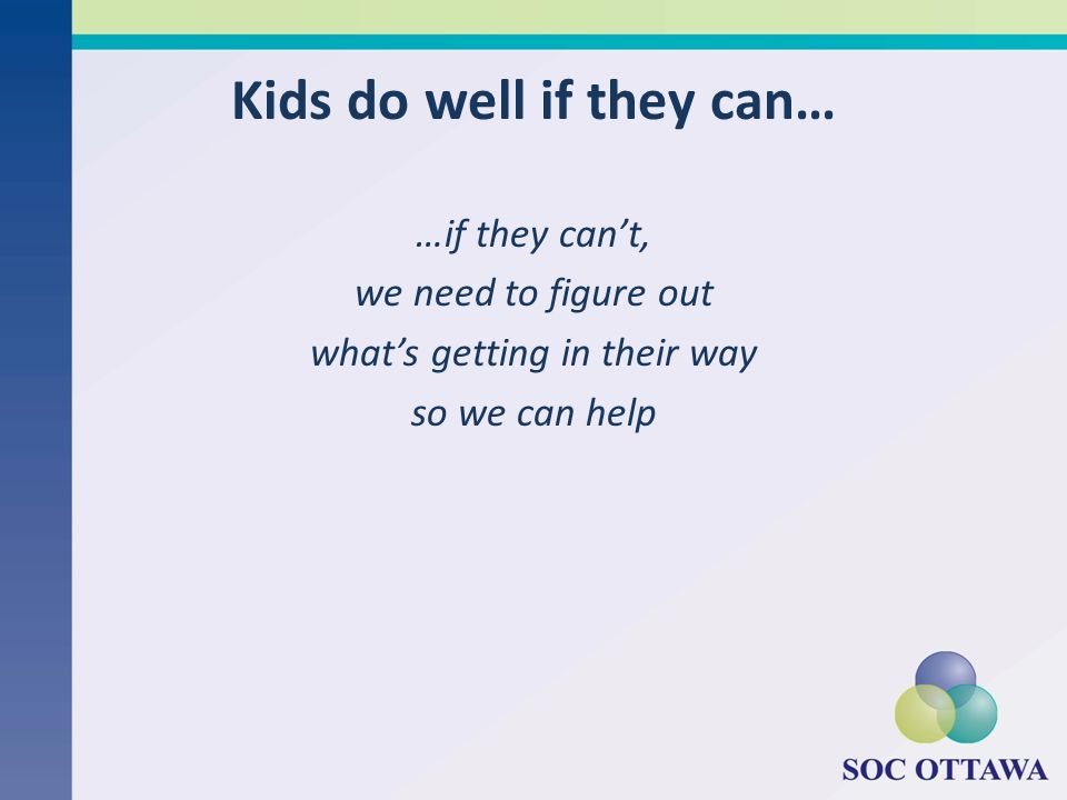 Kids do well if they can… …if they cant, we need to figure out whats getting in their way so we can help