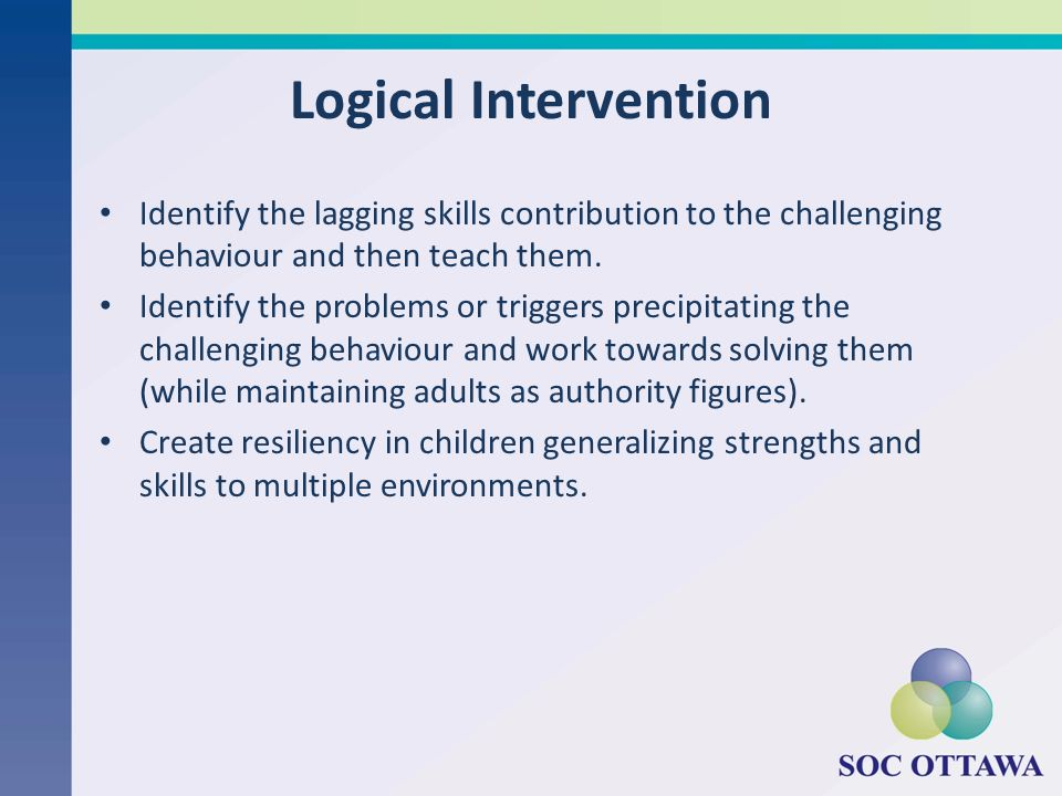 Logical Intervention Identify the lagging skills contribution to the challenging behaviour and then teach them. Identify the problems or triggers prec