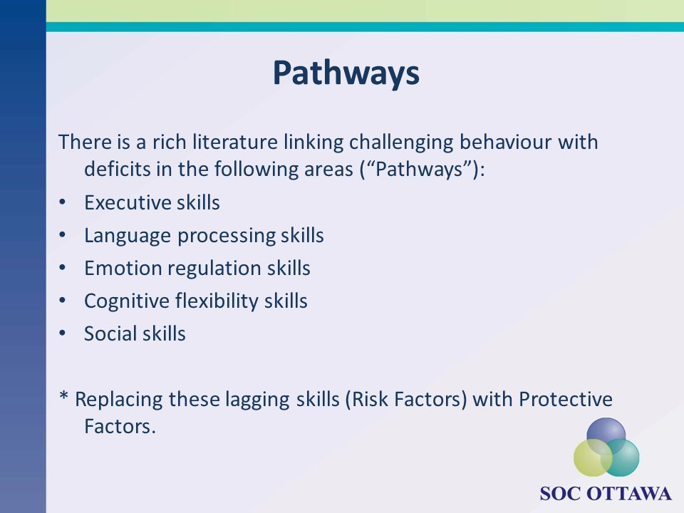 Pathways There is a rich literature linking challenging behaviour with deficits in the following areas (Pathways): Executive skills Language processin