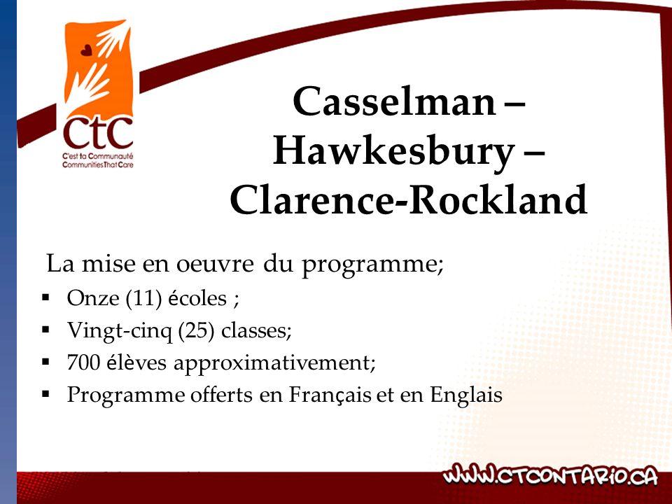 La mise en oeuvre du programme; Onze (11) é coles ; Vingt-cinq (25) classes; 700 é l è ves approximativement; Programme offerts en Fran ç ais et en Englais Casselman – Hawkesbury – Clarence-Rockland