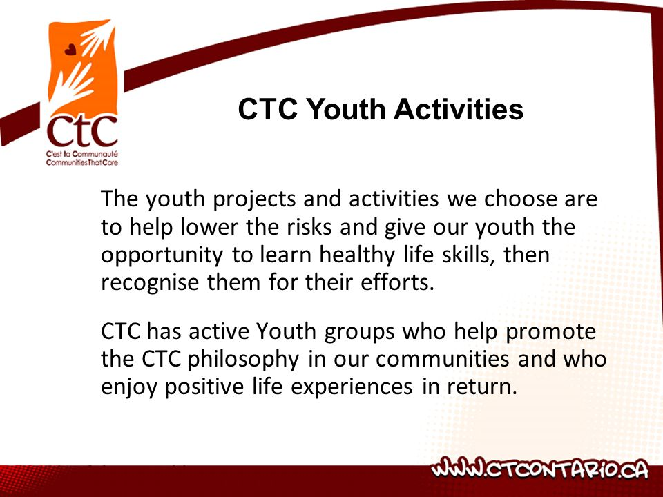 The youth projects and activities we choose are to help lower the risks and give our youth the opportunity to learn healthy life skills, then recognise them for their efforts.