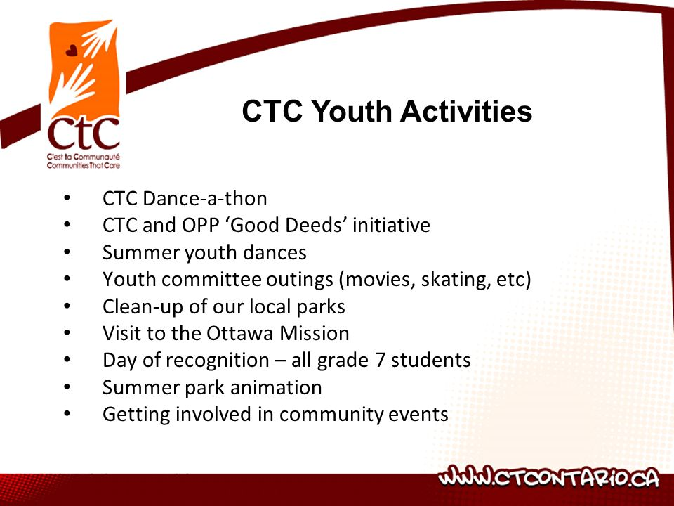 CTC Dance-a-thon CTC and OPP Good Deeds initiative Summer youth dances Youth committee outings (movies, skating, etc) Clean-up of our local parks Visit to the Ottawa Mission Day of recognition – all grade 7 students Summer park animation Getting involved in community events CTC Youth Activities
