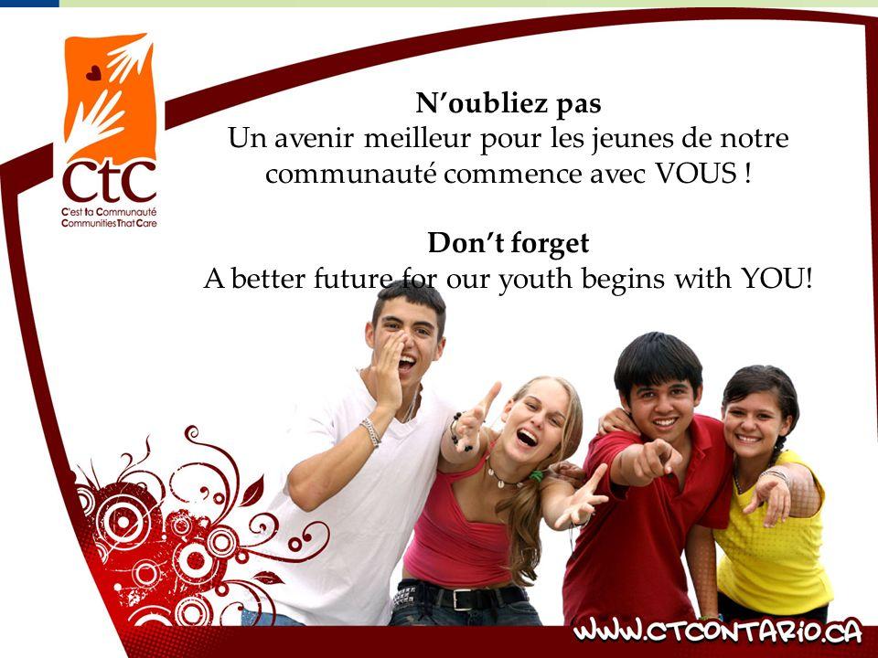 Noubliez pas Un avenir meilleur pour les jeunes de notre communauté commence avec VOUS .