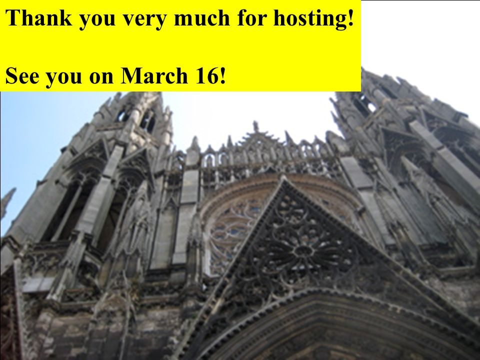 Thank you very much for hosting! See you on March 16!