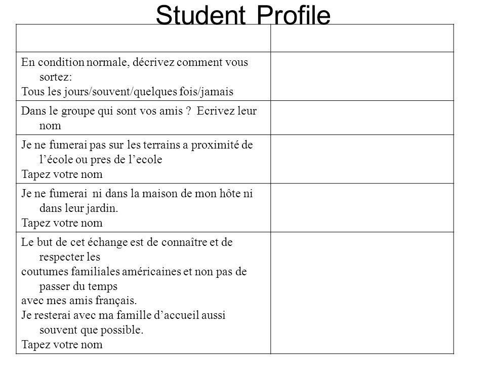 Student Profile En condition normale, décrivez comment vous sortez: Tous les jours/souvent/quelques fois/jamais Dans le groupe qui sont vos amis ? Ecr