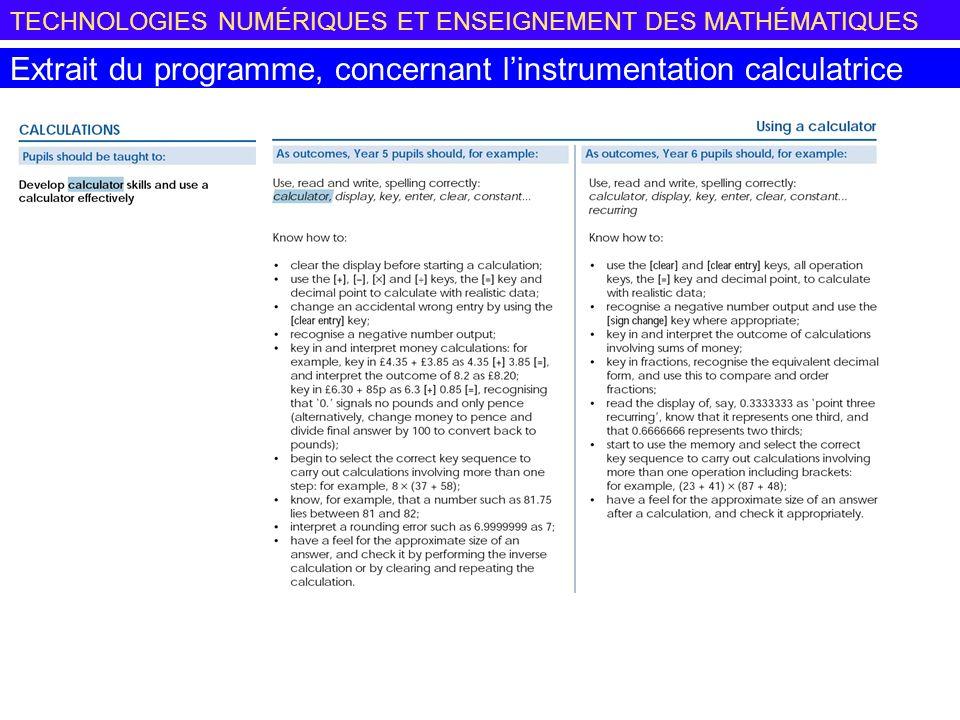 TECHNOLOGIES NUMÉRIQUES ET ENSEIGNEMENT DES MATHÉMATIQUES Extrait du programme, concernant linstrumentation calculatrice