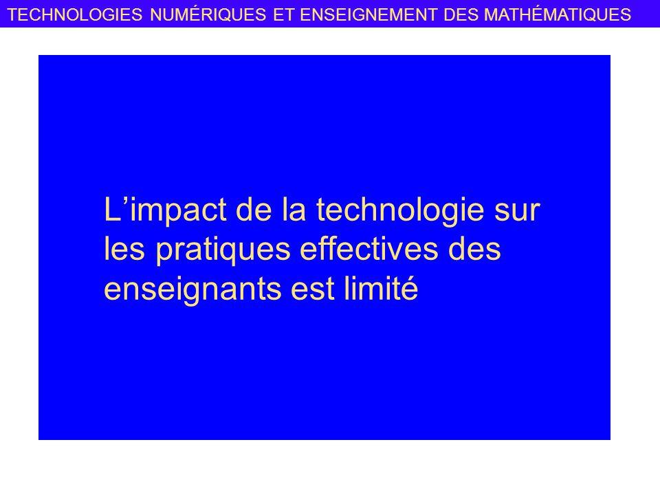 TECHNOLOGIES NUMÉRIQUES ET ENSEIGNEMENT DES MATHÉMATIQUES Limpact de la technologie sur les pratiques effectives des enseignants est limité