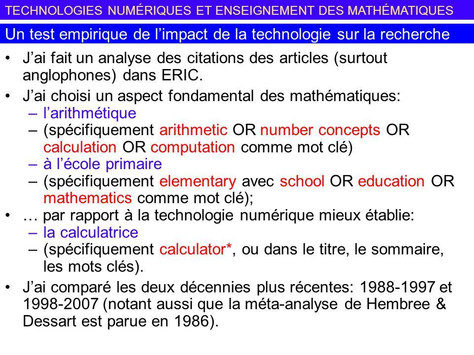TECHNOLOGIES NUMÉRIQUES ET ENSEIGNEMENT DES MATHÉMATIQUES Jai fait un analyse des citations des articles (surtout anglophones) dans ERIC.