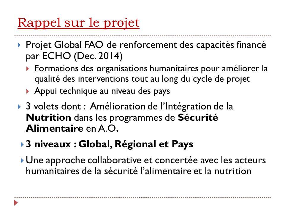 Rappel sur le projet Projet Global FAO de renforcement des capacités financé par ECHO (Dec.