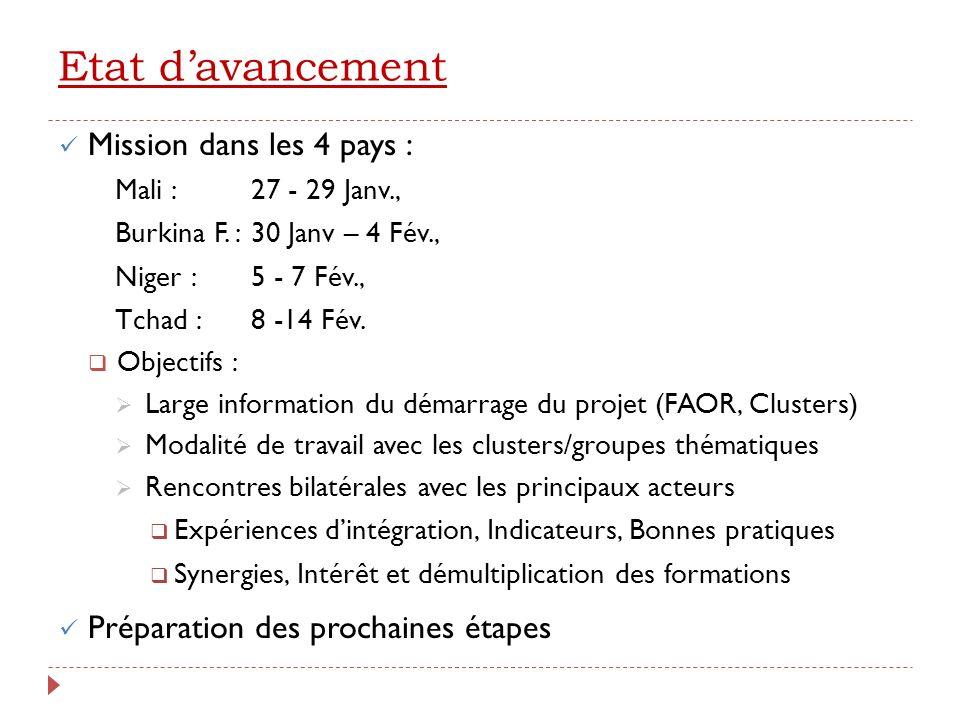 Large information des acteurs PaysRéunion communeBillatéral Mali ( 27 -29 Janv) FAOR : 29 pers, 15 struct.16 structures Burkina Faso ( 30 Janv – 4 Fév.) FAOR : 26 pers, 22 struct.14 structures Niger (5 – 7 Fév.) Cluster SA + Nut : 54 pers.