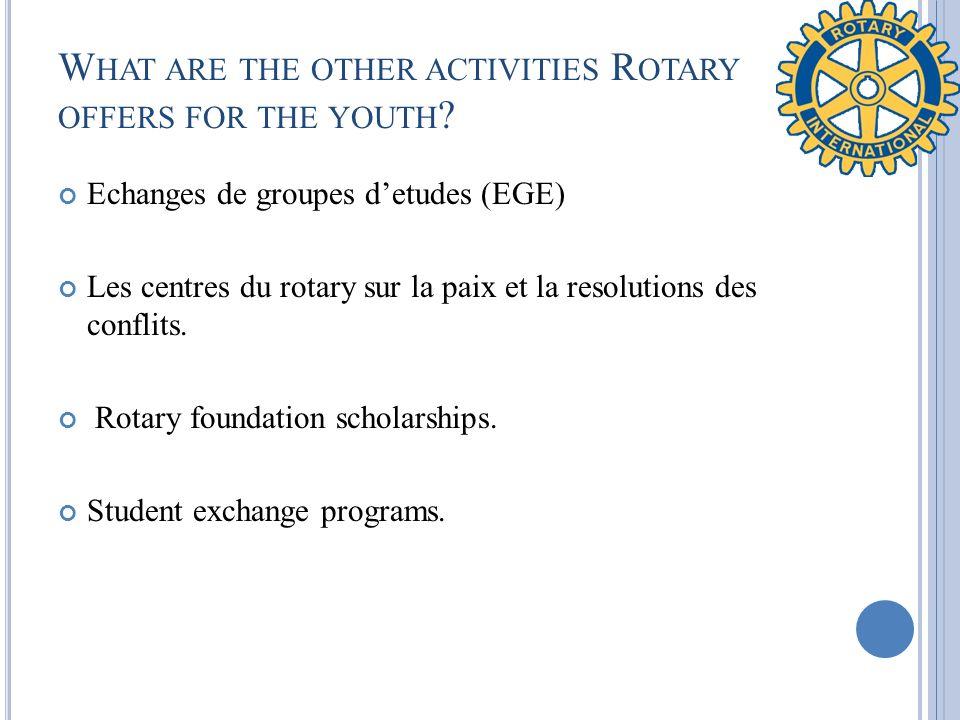 W HAT ARE THE OTHER ACTIVITIES R OTARY OFFERS FOR THE YOUTH ? Echanges de groupes detudes (EGE) Les centres du rotary sur la paix et la resolutions de