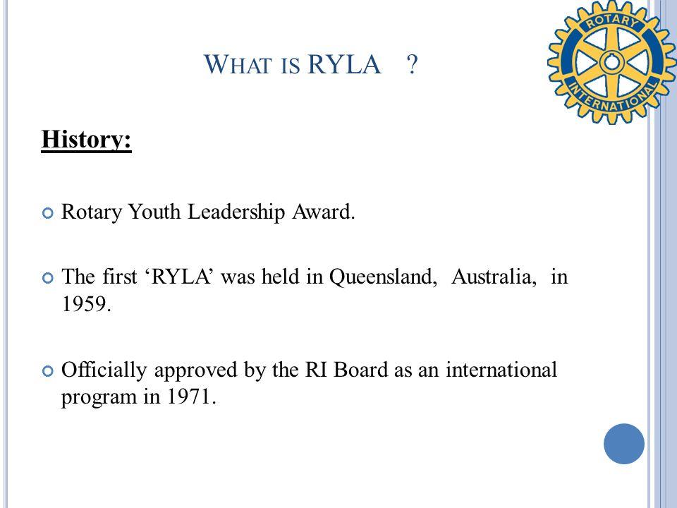 W HAT WAS RYLA D ISTRICT 1680 ABOUT .Le cadre de reference.