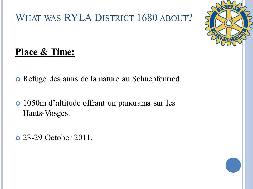W HAT WAS RYLA D ISTRICT 1680 ABOUT ? Place & Time: Refuge des amis de la nature au Schnepfenried 1050m daltitude offrant un panorama sur les Hauts-Vo