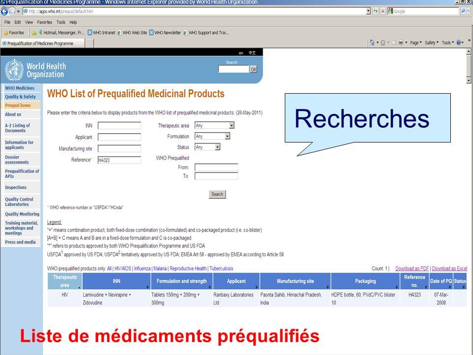 PREQUALIFICATION OMS Liste de médicaments préqualifiés Recherches