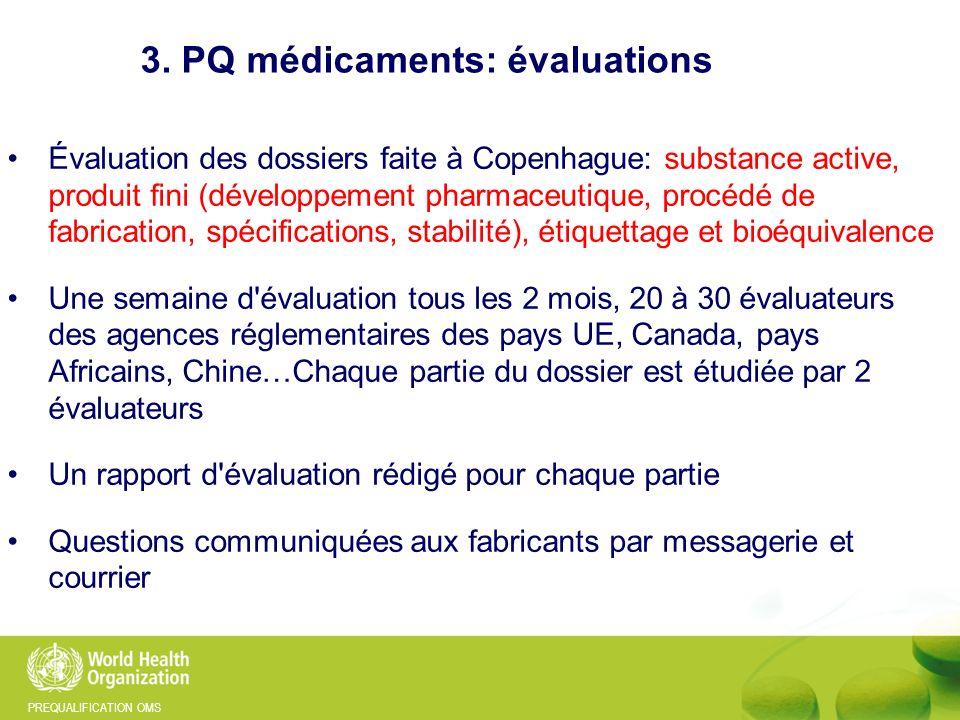 PREQUALIFICATION OMS Évaluation des dossiers faite à Copenhague: substance active, produit fini (développement pharmaceutique, procédé de fabrication,