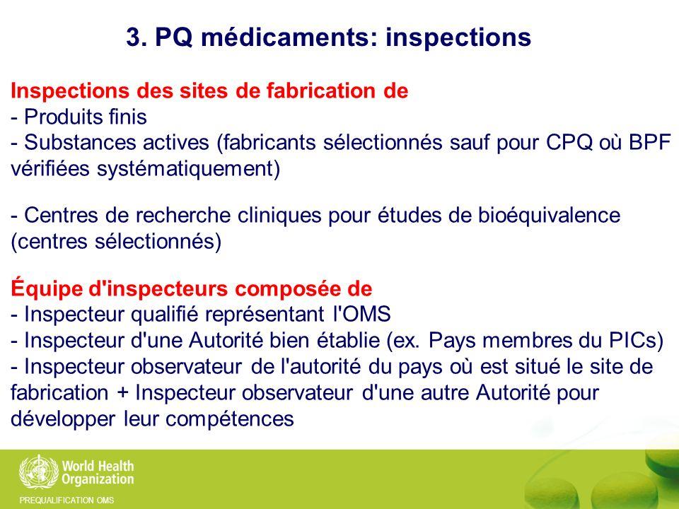 PREQUALIFICATION OMS Inspections des sites de fabrication de - Produits finis - Substances actives (fabricants sélectionnés sauf pour CPQ où BPF vérif