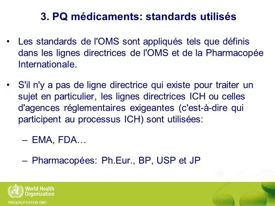 PREQUALIFICATION OMS Les standards de l'OMS sont appliqués tels que définis dans les lignes directrices de l'OMS et de la Pharmacopée Internationale.