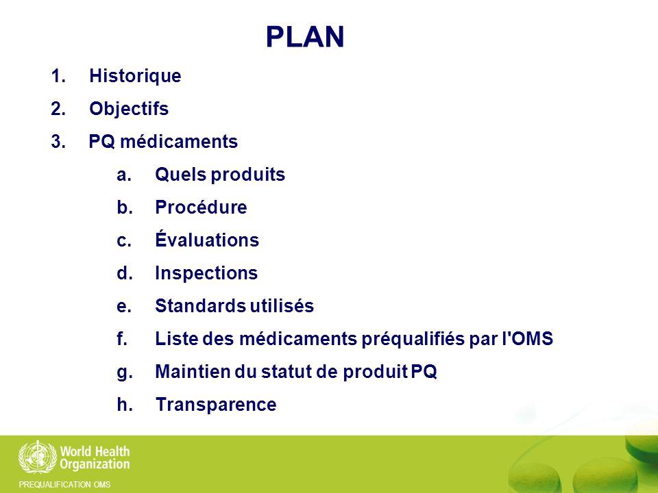 PREQUALIFICATION OMS PLAN 1.Historique 2.Objectifs 3.PQ médicaments a.Quels produits b.Procédure c.Évaluations d.Inspections e.Standards utilisés f.Li