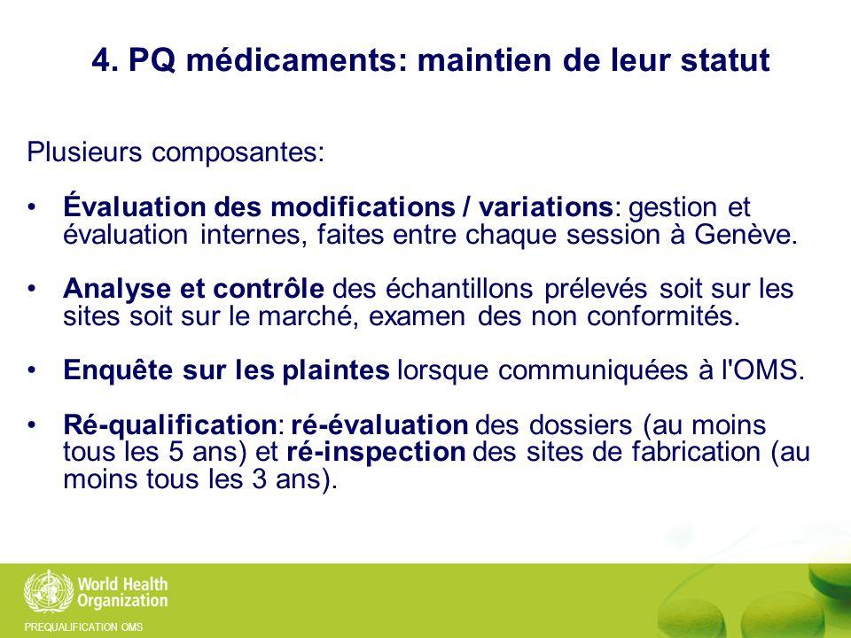 PREQUALIFICATION OMS 4. PQ médicaments: maintien de leur statut Plusieurs composantes: Évaluation des modifications / variations: gestion et évaluatio