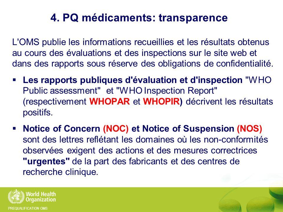 PREQUALIFICATION OMS 4. PQ médicaments: transparence L'OMS publie les informations recueillies et les résultats obtenus au cours des évaluations et de