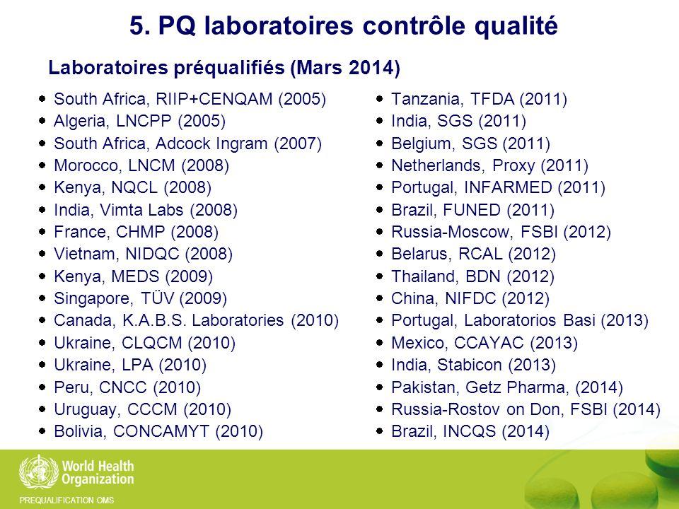 PREQUALIFICATION OMS 5. PQ laboratoires contrôle qualité Laboratoires préqualifiés (Mars 2014) South Africa, RIIP+CENQAM (2005) Algeria, LNCPP (2005)