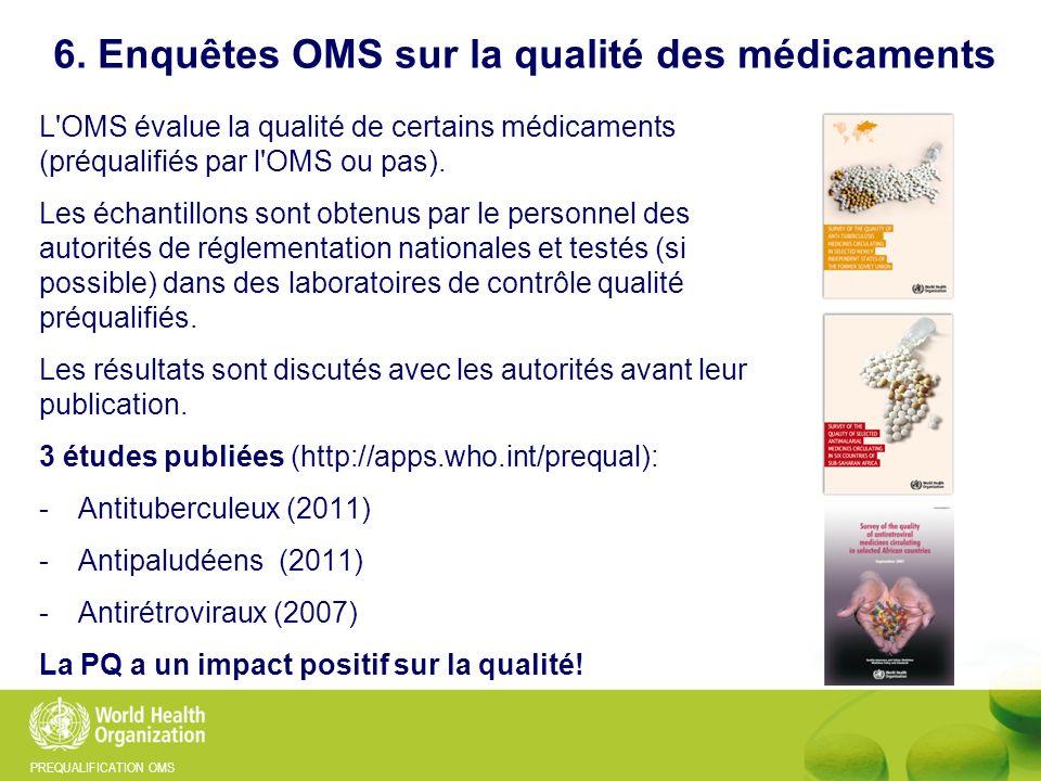 PREQUALIFICATION OMS 6. Enquêtes OMS sur la qualité des médicaments L'OMS évalue la qualité de certains médicaments (préqualifiés par l'OMS ou pas). L