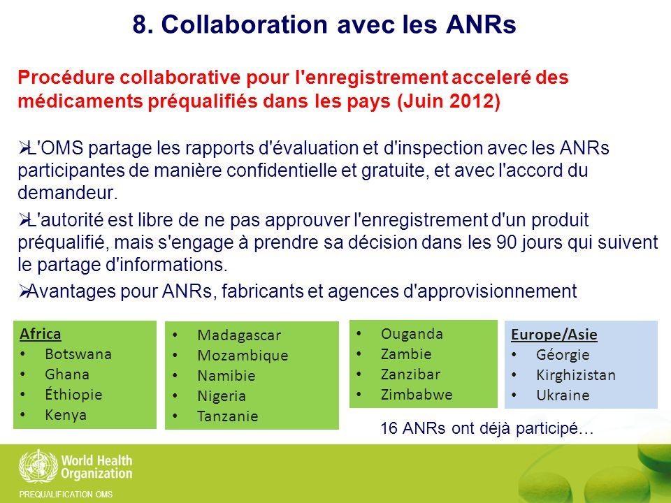 PREQUALIFICATION OMS Procédure collaborative pour l'enregistrement acceleré des médicaments préqualifiés dans les pays (Juin 2012) L'OMS partage les r