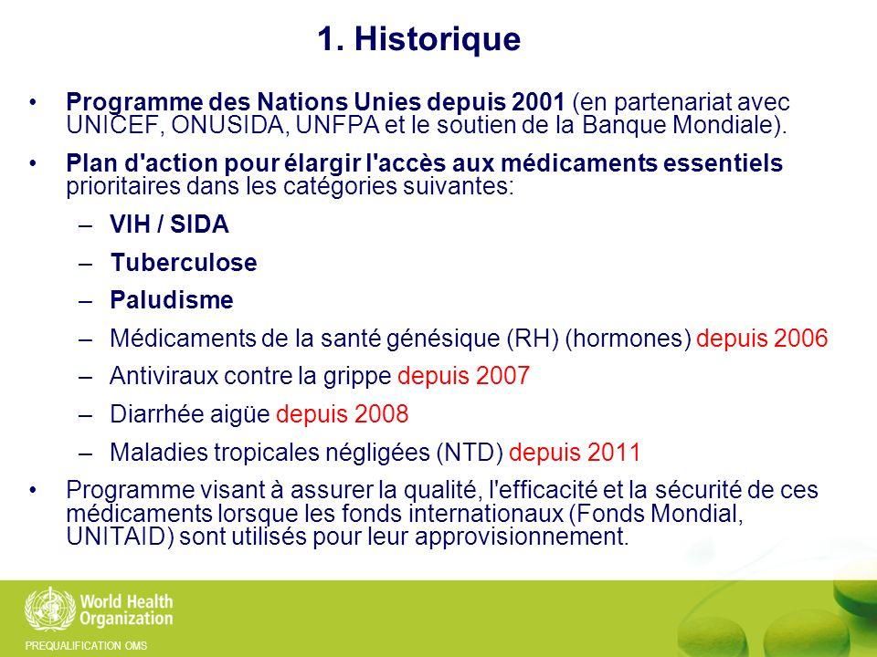 PREQUALIFICATION OMS 1. Historique Programme des Nations Unies depuis 2001 (en partenariat avec UNICEF, ONUSIDA, UNFPA et le soutien de la Banque Mond