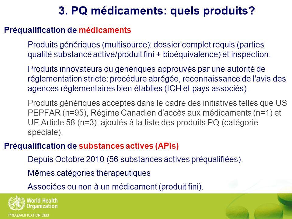 PREQUALIFICATION OMS 371 médicaments PQ OMS 472 médicaments listés au total (incluant ceux acceptés par USFDA, EMA et Canada) 3.