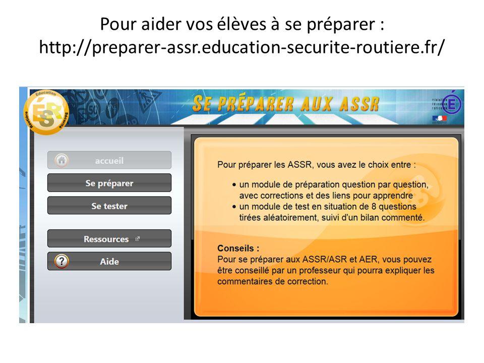 Pour aider vos élèves à se préparer : http://preparer-assr.education-securite-routiere.fr/