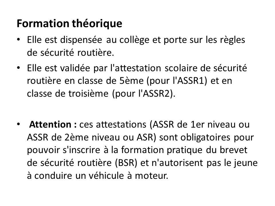 Formation théorique Elle est dispensée au collège et porte sur les règles de sécurité routière. Elle est validée par l'attestation scolaire de sécurit