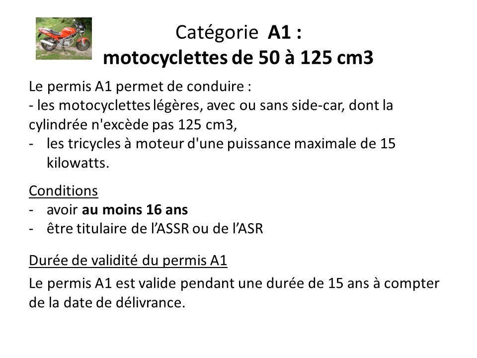 Catégorie A1 : motocyclettes de 50 à 125 cm3 Le permis A1 permet de conduire : - les motocyclettes légères, avec ou sans side-car, dont la cylindrée n excède pas 125 cm3, -les tricycles à moteur d une puissance maximale de 15 kilowatts.