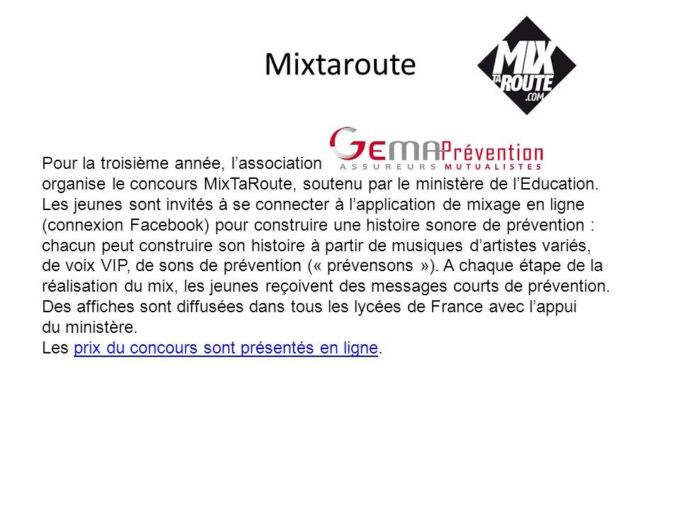 Mixtaroute Pour la troisième année, lassociation organise le concours MixTaRoute, soutenu par le ministère de lEducation. Les jeunes sont invités à se