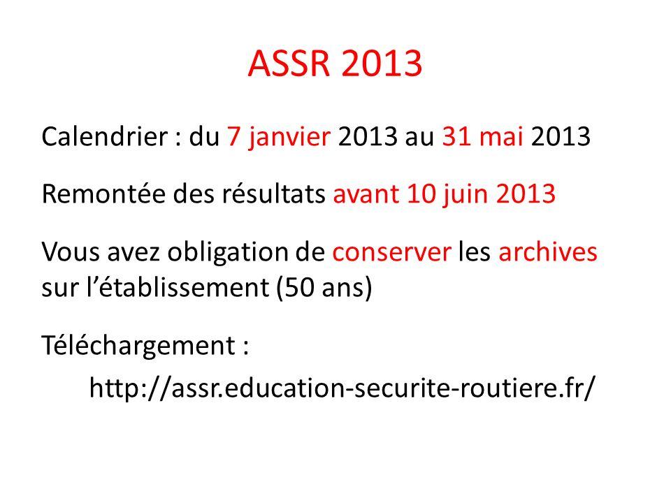 ASSR 2013 Calendrier : du 7 janvier 2013 au 31 mai 2013 Remontée des résultats avant 10 juin 2013 Vous avez obligation de conserver les archives sur létablissement (50 ans) Téléchargement : http://assr.education-securite-routiere.fr/