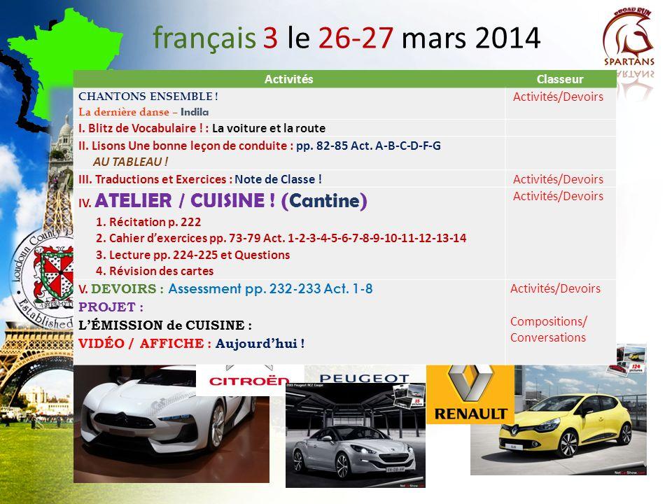 français 3 le 26-27 mars 2014 ActivitésClasseur CHANTONS ENSEMBLE .
