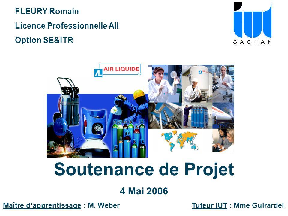 Soutenance de Projet 4 Mai 2006 Maître dapprentissage : M. Weber Tuteur IUT : Mme Guirardel FLEURY Romain Licence Professionnelle AII Option SE&ITR