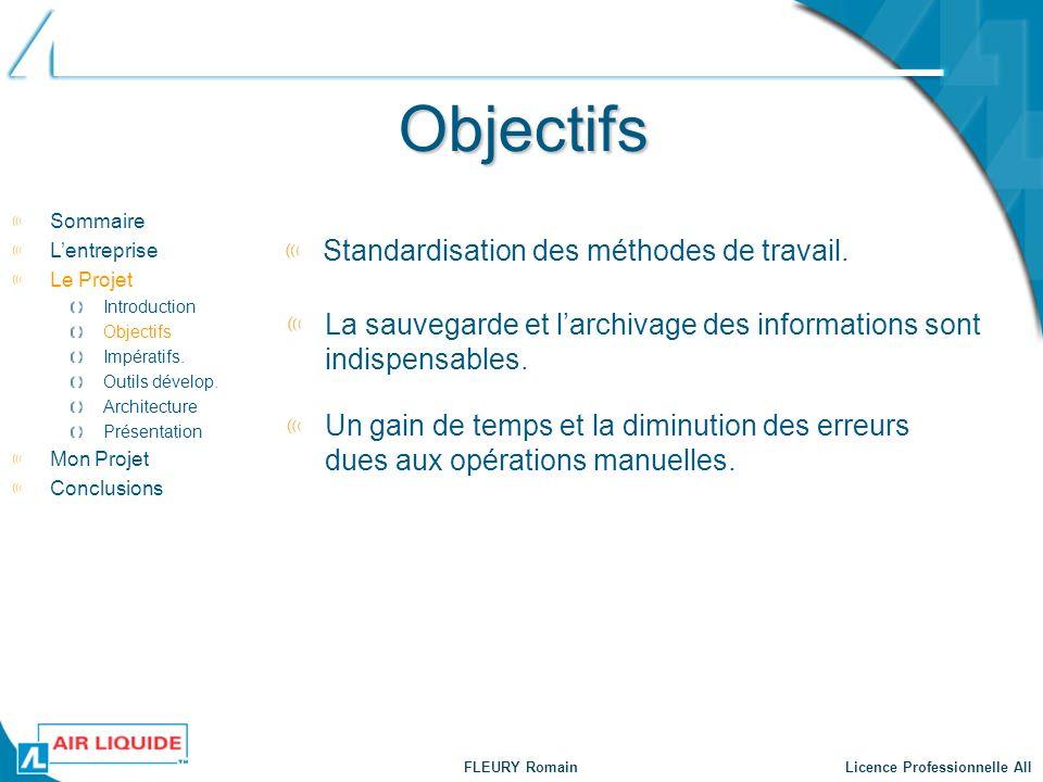 FLEURY Romain Licence Professionnelle AII Objectifs Standardisation des méthodes de travail. Sommaire Lentreprise Le Projet Introduction Objectifs Imp