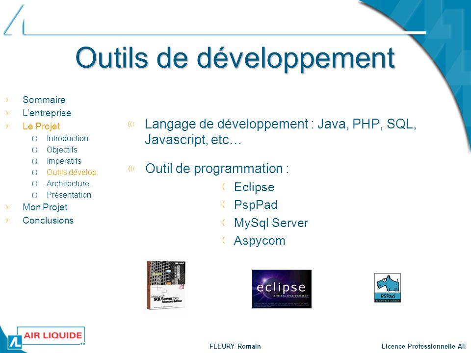 FLEURY Romain Licence Professionnelle AII Outils de développement Langage de développement : Java, PHP, SQL, Javascript, etc… Sommaire Lentreprise Le