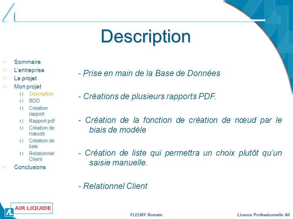 FLEURY Romain Licence Professionnelle AII Description - Prise en main de la Base de Données - Créations de plusieurs rapports PDF. - Création de la fo