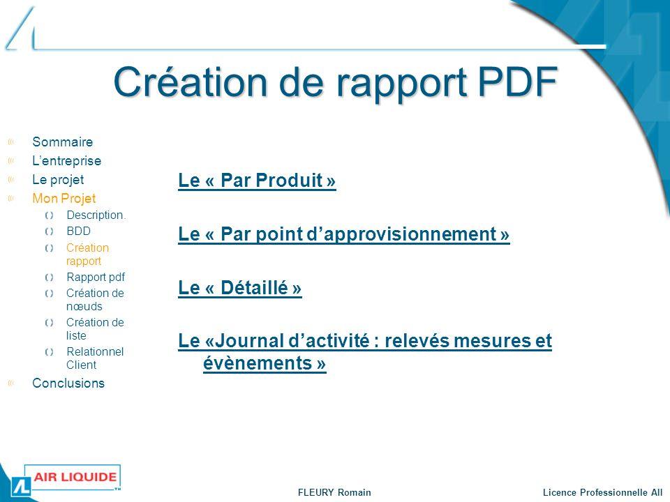 FLEURY Romain Licence Professionnelle AII Création de rapport PDF Le « Par Produit » Le « Par point dapprovisionnement » Le « Détaillé » Le «Journal d