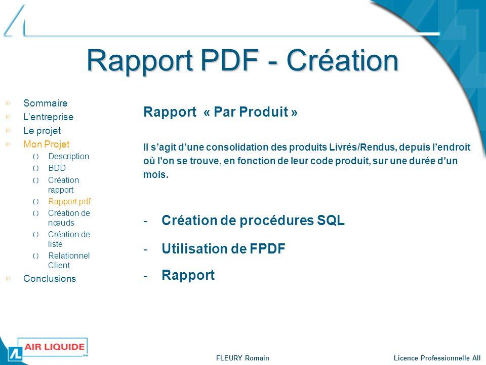 FLEURY Romain Licence Professionnelle AII Rapport PDF - Création -Création de procédures SQL Sommaire Lentreprise Le projet Mon Projet Description BDD