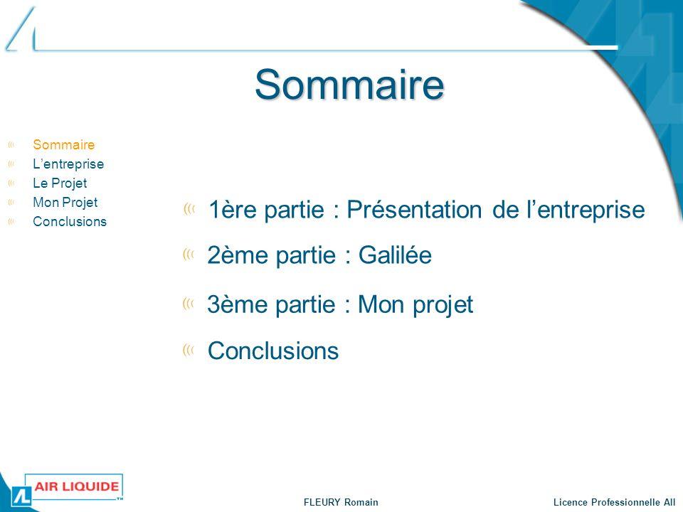 FLEURY Romain Licence Professionnelle AII Sommaire Sommaire Lentreprise Le Projet Mon Projet Conclusions 1ère partie : Présentation de lentreprise 2èm