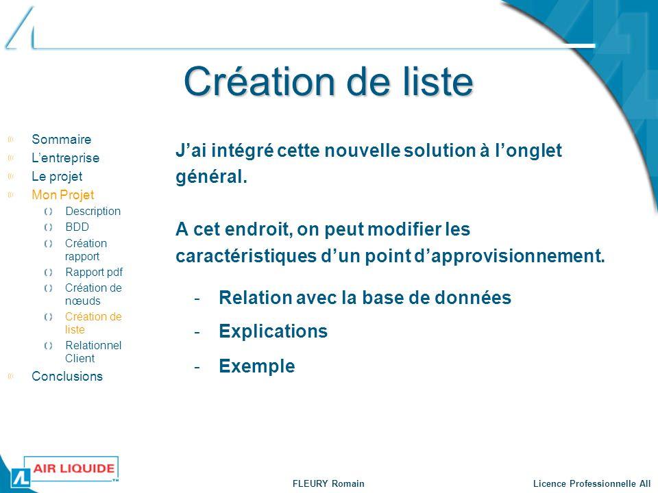 FLEURY Romain Licence Professionnelle AII Création de liste -Relation avec la base de données Sommaire Lentreprise Le projet Mon Projet Description BD