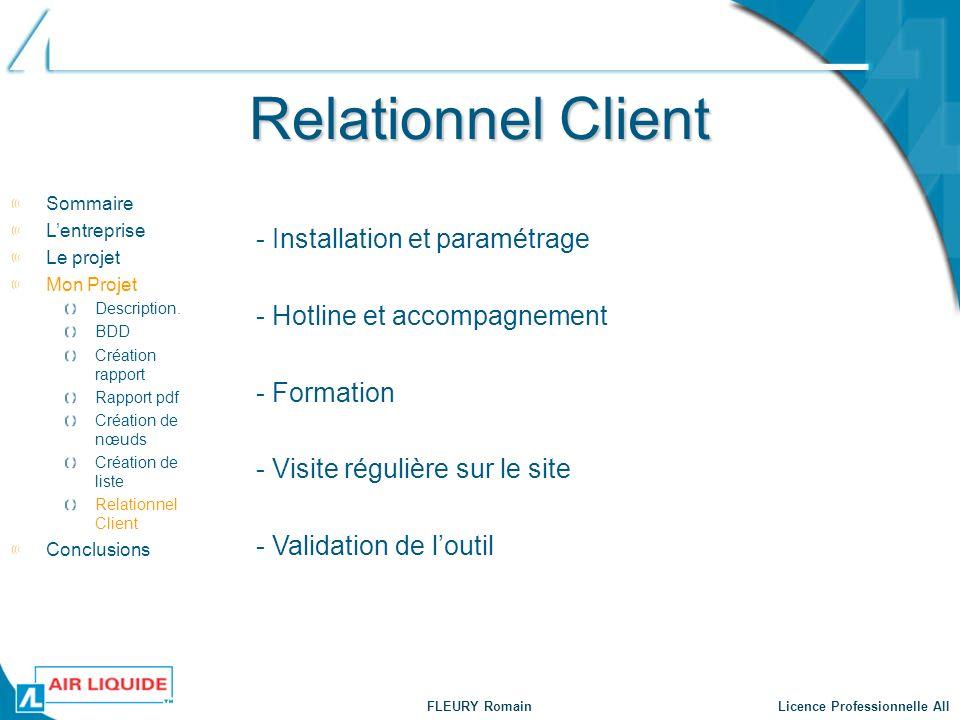 FLEURY Romain Licence Professionnelle AII Relationnel Client Sommaire Lentreprise Le projet Mon Projet Description. BDD Création rapport Rapport pdf C