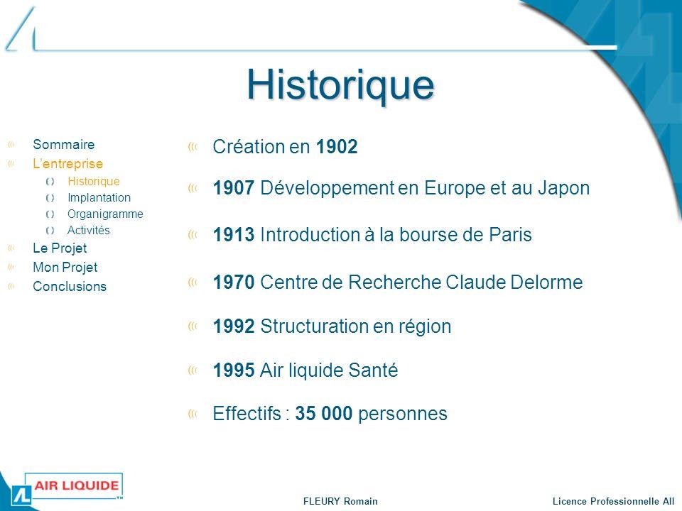 Historique Création en 1902 Sommaire Lentreprise Historique Implantation Organigramme Activités Le Projet Mon Projet Conclusions 1907 Développement en