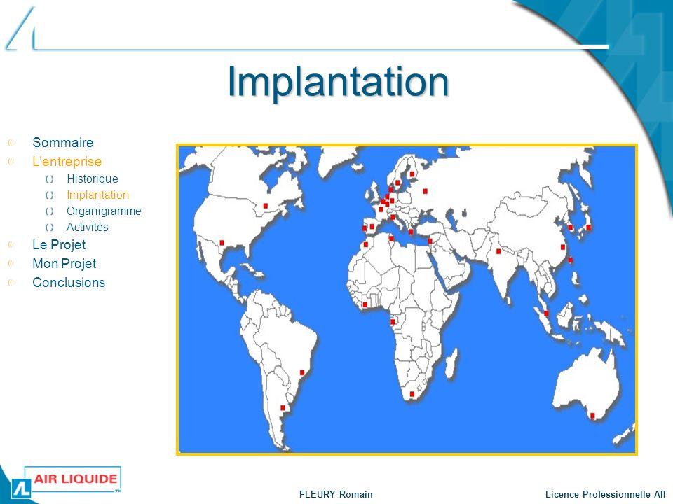 FLEURY Romain Licence Professionnelle AII Implantation Sommaire Lentreprise Historique Implantation Organigramme Activités Le Projet Mon Projet Conclu