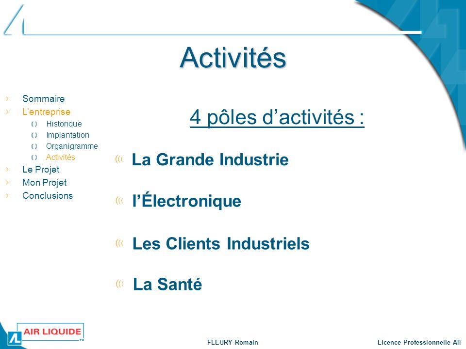 FLEURY Romain Licence Professionnelle AII Activités 4 pôles dactivités : La Grande Industrie lÉlectronique Les Clients Industriels La Santé Sommaire L