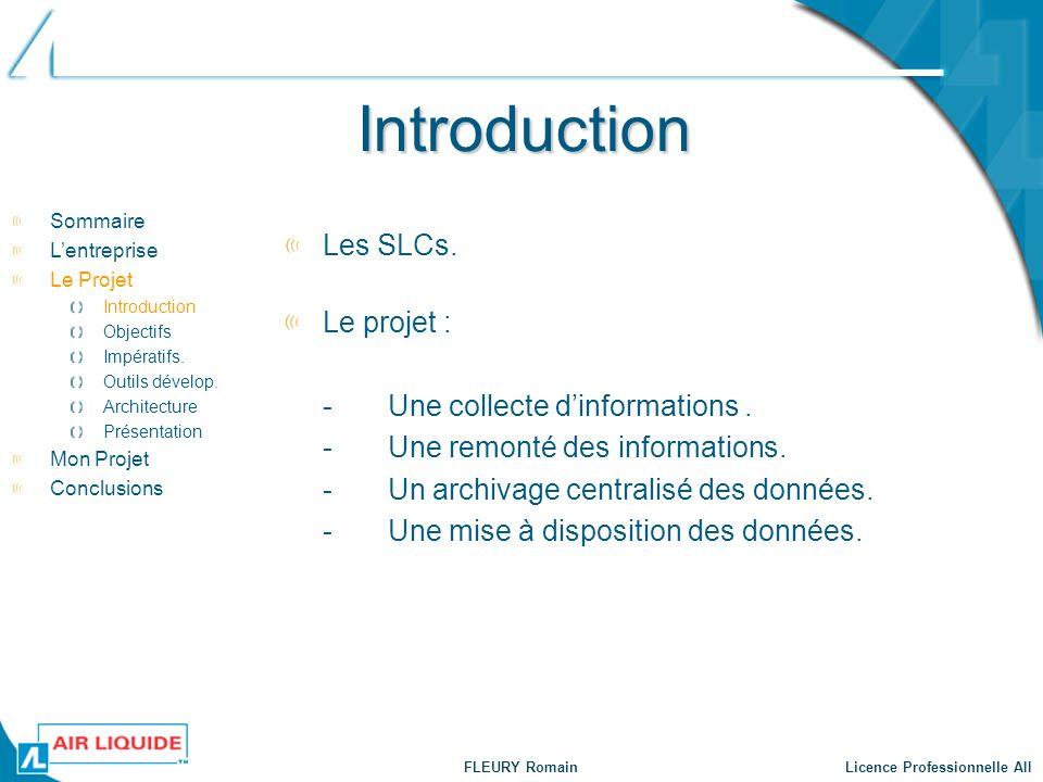 FLEURY Romain Licence Professionnelle AII Objectifs Standardisation des méthodes de travail.