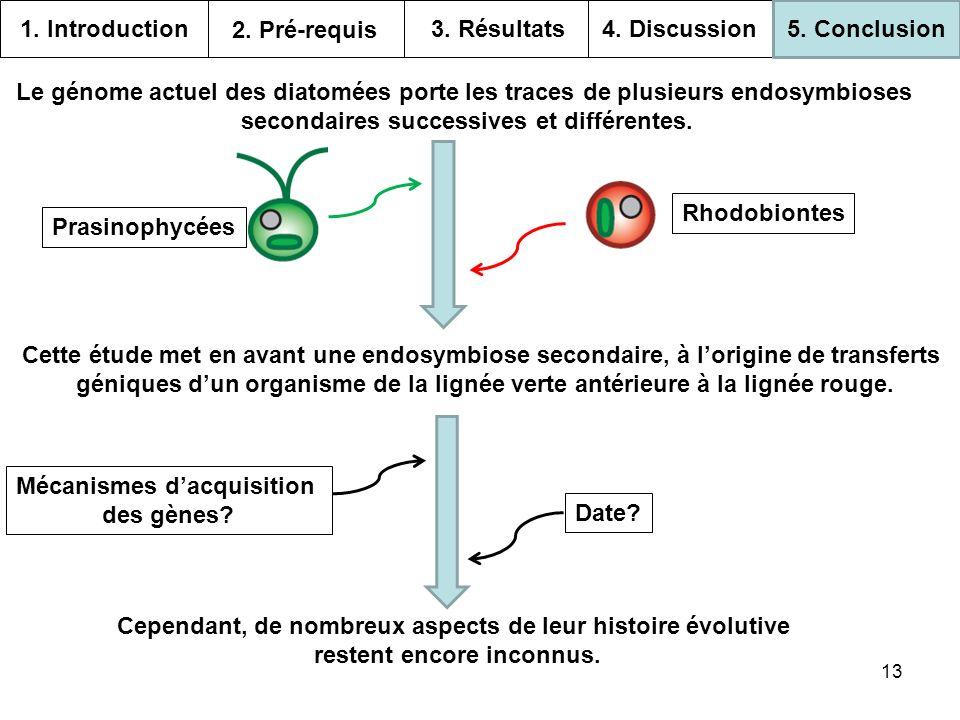 13 1. Introduction 2. Pré-requis 3. Résultats 4. Discussion 5. Conclusion Le génome actuel des diatomées porte les traces de plusieurs endosymbioses s
