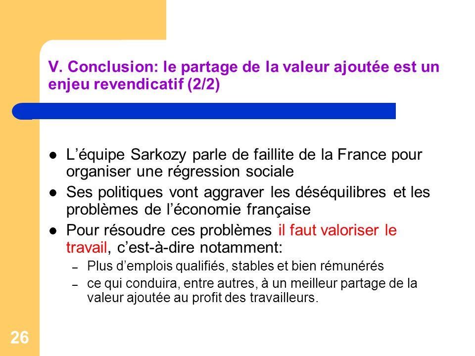 26 V. Conclusion: le partage de la valeur ajoutée est un enjeu revendicatif (2/2) Léquipe Sarkozy parle de faillite de la France pour organiser une ré